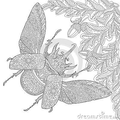 Free Zentangle Stylized Rhinoceros Beetle Stock Image - 72912761