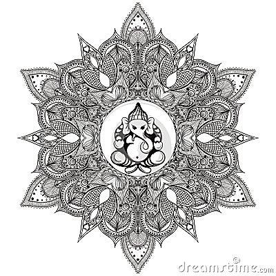 Free Zentangle Stylized Round Indian Mandala With Hindu Elephant God Royalty Free Stock Photo - 58756545