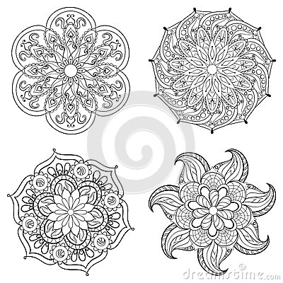Free Zentangle Stylized Tribal Arabic, Indian Mandala Set. Royalty Free Stock Image - 60164216