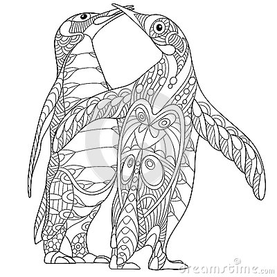 Zentangle stylized two emperor penguins stock vector for Penguin adult coloring pages