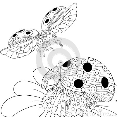 coloring pages of flying ladybugs - photo#17