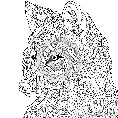 Free Zentangle Stylized Wolf Royalty Free Stock Photos - 70823418