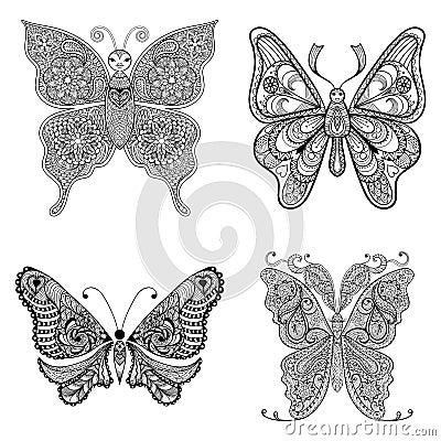 Zentangle Vector Black Butterflies Set For Adult Anti ...