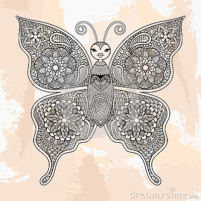 Zentangle Vector Butterfly Tattoo In Hipster Style