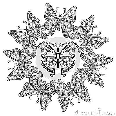 Zentangle Vector Circle Of Flying Butterflies Stock Vector