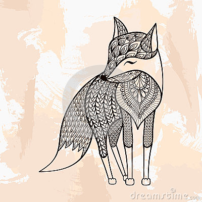 Zentangle Vector Fox Tattoo In Hipster Style Ornamental