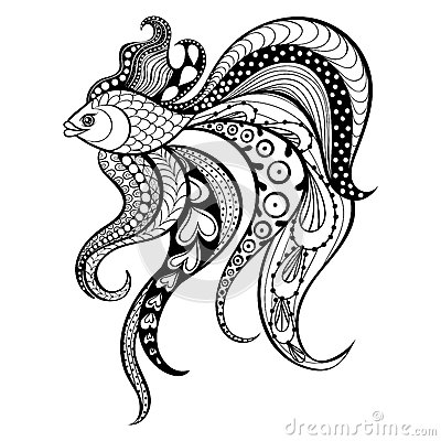 Free Zentangle Vector Gold Fish For Tattoo In Boho, Hipster Style. Or Stock Photo - 62450280