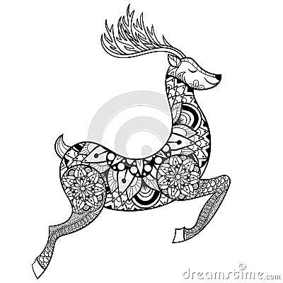 Zentangle Vector Reindeer For Adult