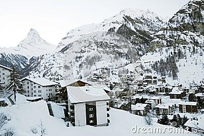 Zermatt village in winter