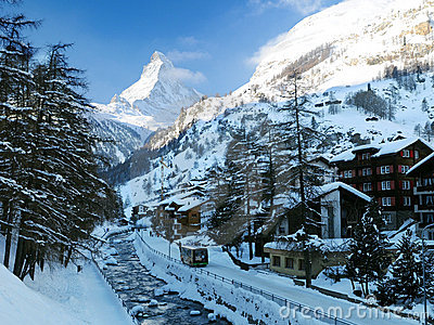 Zermatt village winter scene