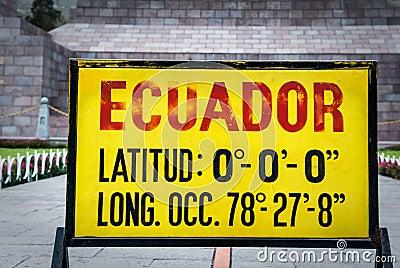 Zero latitude sign at Mitad del Mundo, Ecuador