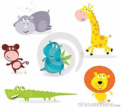 Zes leuke safaridieren - giraf, croc, rinoceros?