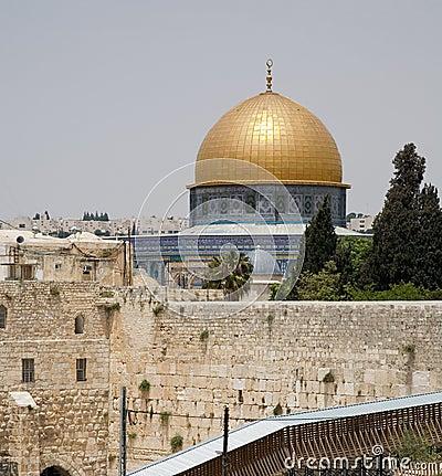 Zetten de de loeiende muur en tempel van Jeruzalem op
