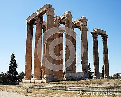 Zeus виска руин олимпийца athens