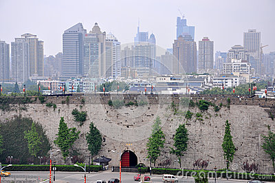 Zhonghua Gate and Nanjing City Skyline
