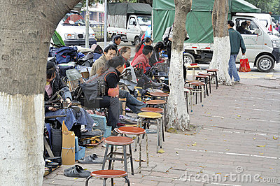 Zhongshan,worker on street Editorial Stock Photo