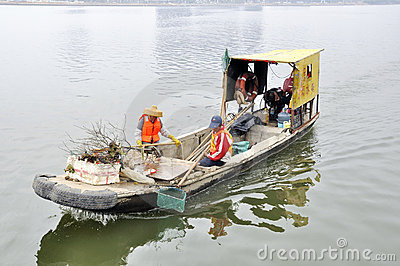 Zhuhai,china:river clean boat Editorial Stock Image