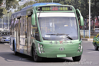 Zhuhai,full-electric bus in city Editorial Stock Photo