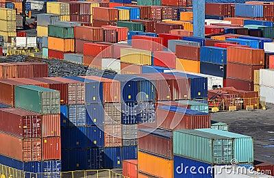 Zie de werf van de havencontainer