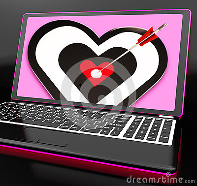 Ziel-Inneres auf dem Laptop, der Leidenschaft zeigt