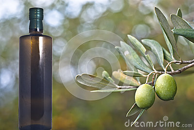 Zielone oliwki i butelka