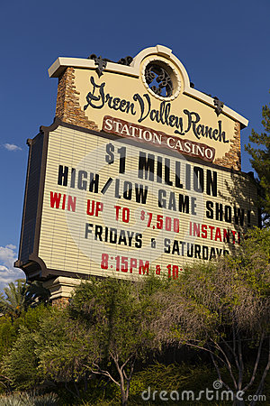 Zielonej doliny rancho kasyno podpisuje wewnątrz Las Vegas, NV na Sierpień 20, 20 Fotografia Editorial