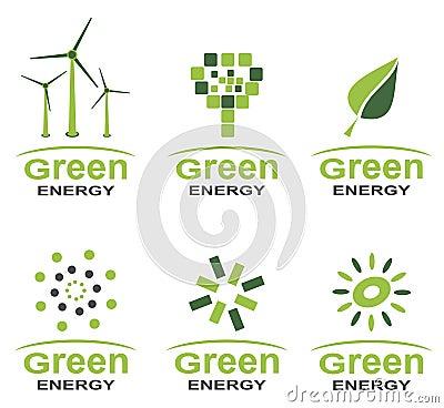 Zielony energetyczny loga set