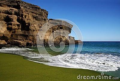 Zielony piasku plaży
