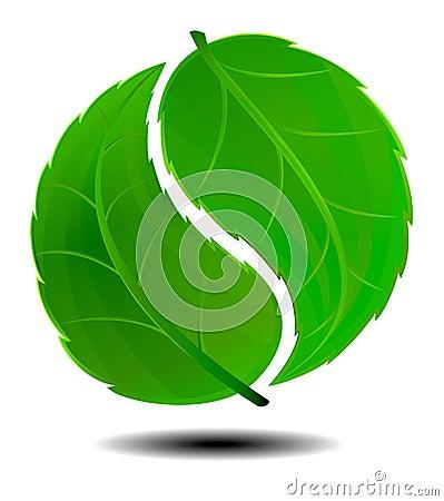 Yin Yang symbolu Zielony logo