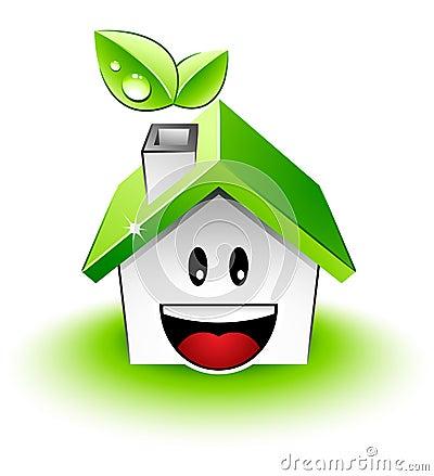 Zielony szczęśliwy dom
