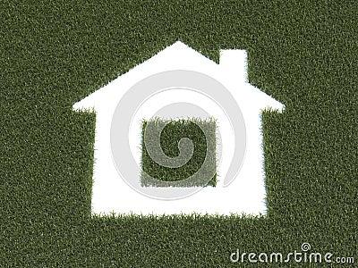 Zielony trawa dom