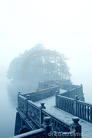 Zigzag bridge and fog