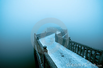 Zigzag bridge in fog