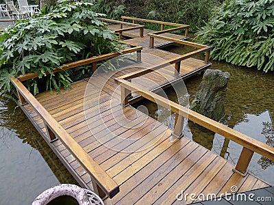Zigzag style wooden footbridge