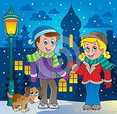 Zima osoby kreskówki wizerunek 3