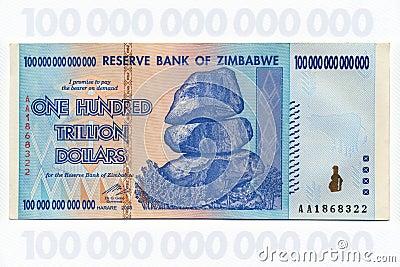 Zimbabwe - One Hundred Trillion Dollar Banknote Editorial Stock Image