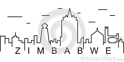 Zimbabwe outline icon. Can be used for web, logo, mobile app, UI, UX Vector Illustration