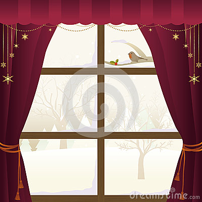 Zimy scena Przez okno