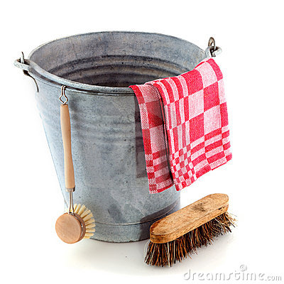 Zinc bucket with cleaning brush