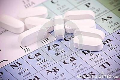 Zinc Pills on Zn Stock Photo