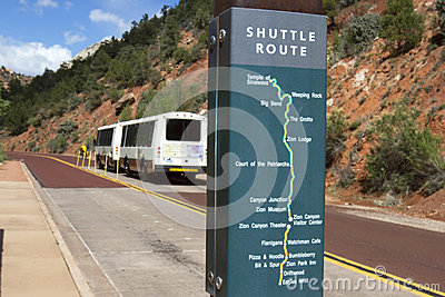 Zion National Park Shuttle Bus Editorial Photography