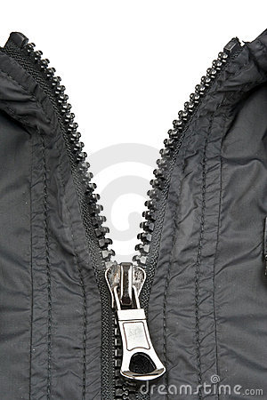 Zip of black jacket