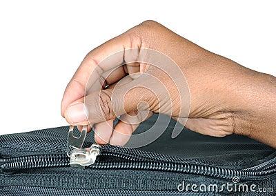 Zip with hand