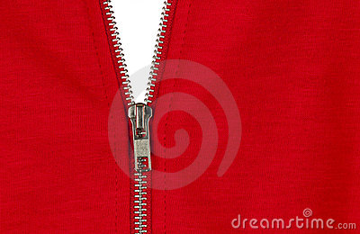 Zip of a red cotton sweater