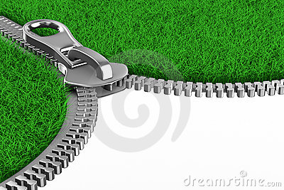 Zipper with grass on white background. Isolated 3D