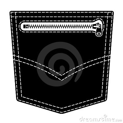 Zipper jeans pocket black symbol