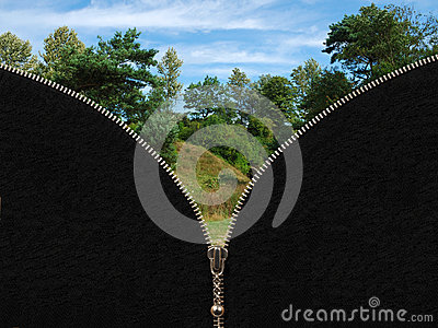 Zipper and rural summer landscape