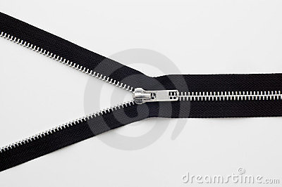Zipper on white background.