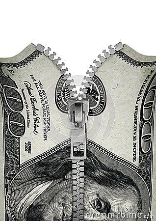 Zippered hundred dollar bill