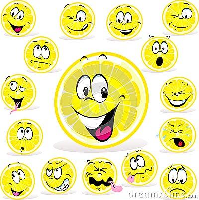 Zitronenkarikatur mit vielen Ausdrücken